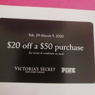 TWO! Victorias Secret COUPONS $20 OFF $50 PURCHASE FEBRUARY 29- MARCH 9 2020