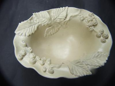 Castle Harris Australian Pottery Footed  Bowl w Applied Leaves & Berries Rare