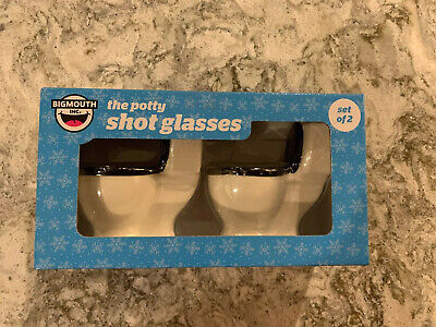 Big Mouth Potty Shot Glasses Set of 2 Toilet Shaped Shot Glasses New in Box