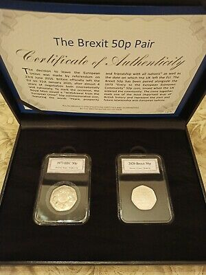 BREXIT 50p COIN SET PAIR 2020 and 1973 PRESENTATION BOXED SET small mark on coin