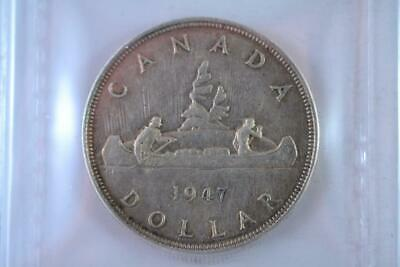 1947 Canada $1 .800 Ag 23.3 Grams ICCS Graded EF-40 Pointed 7 Double Punched HP