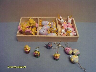 Wooden & Resin Miniature Easter Ornament Lot Bunnies Hens Eggs Chicks