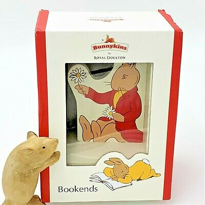 Royal Doulton Bunnykins Wooden Bookends - Sturdy Colourful Unused, Original Box
