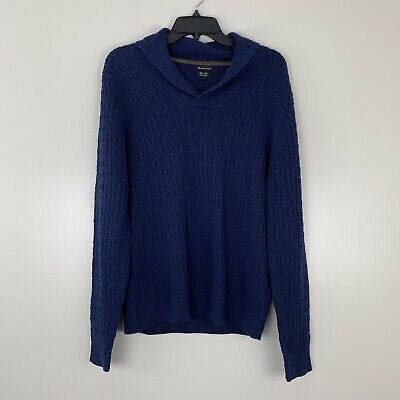 Massimo Dutti Blue Knit Collared Sweater Cotton Linen Long sleeve Mens Large