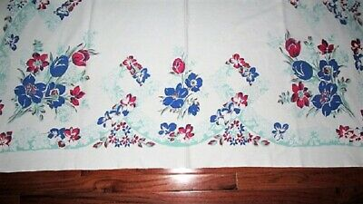 Vtg Mcm 53X63 Red White Blue Tulip Flower Cutter Or Use Tablecloth Retro Kitchen