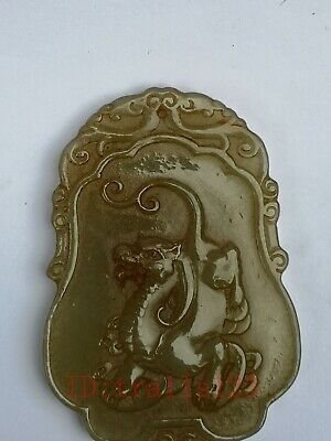 Collection Old China Xinjiang Jade Carving Kylin Dragon Propitious Pendant Gift