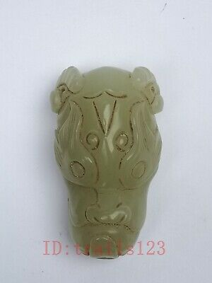 Collection Old China Xinjiang Jade Carving ox Head Statue Pendant Decoration