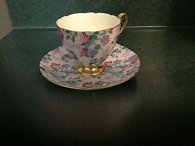 Shelley Summer Glory Pink Floral Chintz Cup & Saucer with Gold Rim.  England