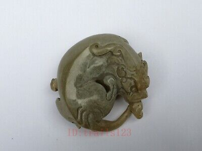 Collection Old China Xinjiang Jade Carving Beast Pendant Antique Decoration Gift