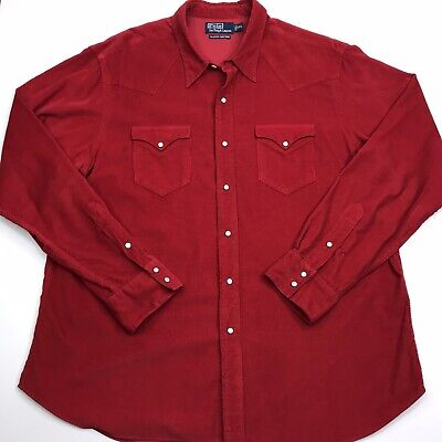 Polo Ralph Lauren Mens Size 2XL Classic Western Corduroy Pearl Snap Red