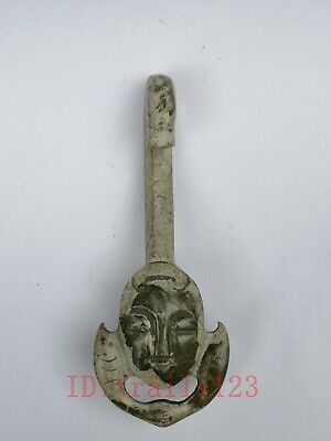 Collection Old China Xinjiang Jade Carving Person Face Dragon Antique Belt Hook