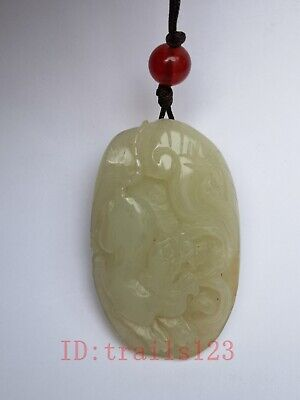 Collection China Xinjiang Jade Hand Carving Beast Propitious Pendant Gift