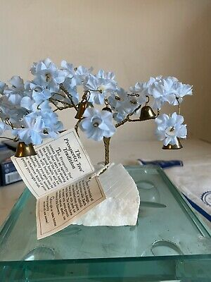 Prosperity Tree - Vintage Blue Silk Flowers Brass Twisted Branches Marble Base
