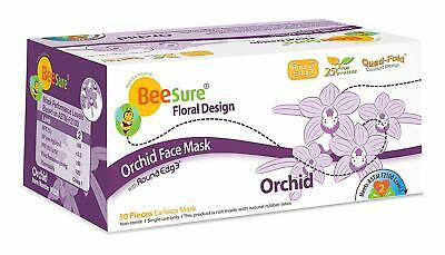 Beesure Floral Earloop Face Mask Orchid Lavender ASTM Level 2 Box/50 Corona