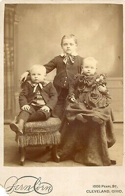 Cabinet Card Studio Portrait of Three Children and Doll by Bernborn Cleveland