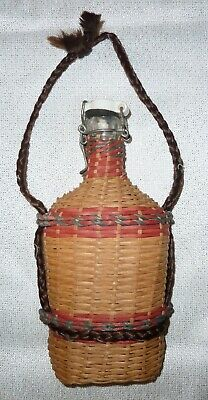 ANTIQUE *LOURDES* FRENCH PILGRIM'S HOLY WATER FLASK in WICKER w/CLAMP STOPPER