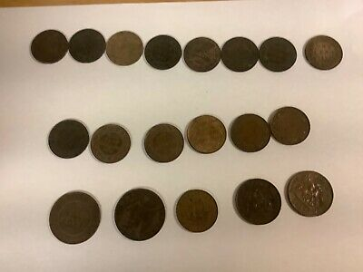 Lot Of 19 Canada Large Cent & 1/2 cent Coins Mixed Dates Late 1800s EARLY 1900s