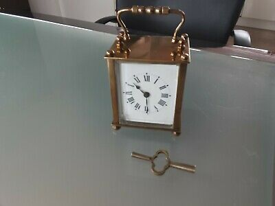 Antique French 8 Day Carriage Clock Brass Rectangle Case French Mantel Clock AF
