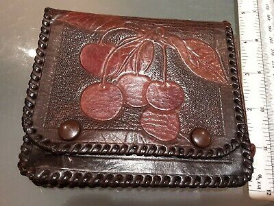Arts And Crafts Leather wallet coin purse Embossed cherries & letters F O thong