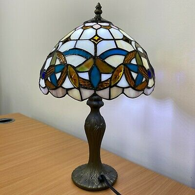 Tiffany Style Table Lamp 10 inch Shade Stained Glass Rose design Hand Crafted