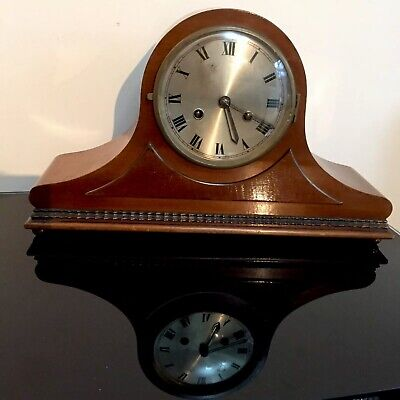 Large Antique British Wood Cased Brass Mechanical Mantel Clock for Restoration