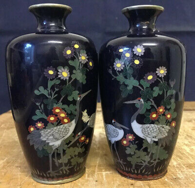 Japanese Antique Pair Of Cloisonné Vases Signed - Meiji Cranes