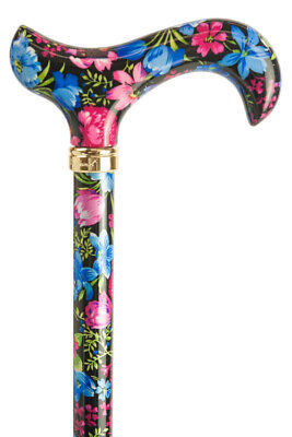 Tea Party Adjustable Walking Stick - Blue/Pink Floral