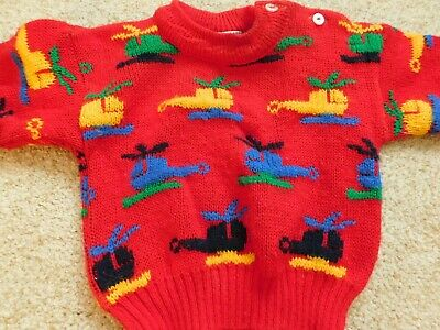 18m VINTAGE ANASTASIA SWEATER HELICOPTERS 18 MONTHS  RED BLUE YELLOW GREEN