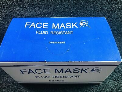 50 Count Face Mask Fluid Resistant Nose Bar Adaptable Blue Latex Free Sealed Box