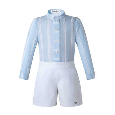 Spanish Boys Gentleman Outfits Striped Shirt Top Shorts Set Formal Party Clothes