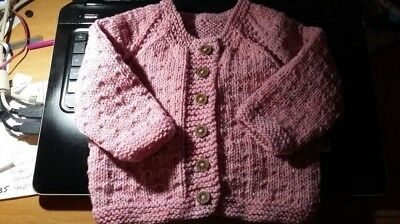 """21"""" 9 mths Baby Girl Cardigan~(NEW) Dusky Pink Marl~Hand Knitted"""