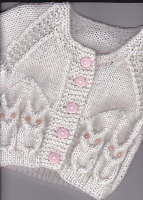 "18"" (3 mths) Little Owl Cardigan baby girl~(NEW) Pale Peachy Pink Hand Knit"