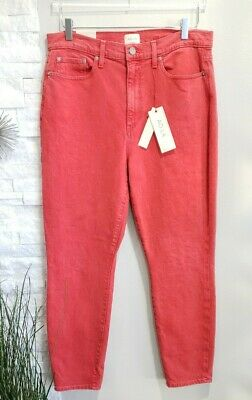AO. LA  Alice & Olivia Good High Rise Ankle Skinny Jeans Red Orange Women Sz 32