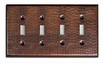 Monarch Pure Copper Hammered Quad Switch Wall Plate / Switch Plate