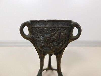 Antique Bronze Censer Dragon Motif Made in Japan Sun Mark