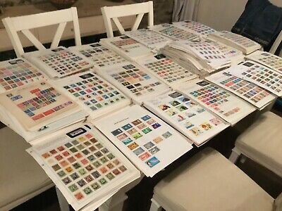 World Stamps on Loose Pages, 100 leaves well populated Ex-Dealers Sorter