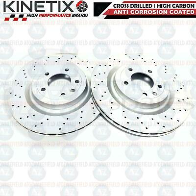 FOR LAND ROVER DISCOVERY 2.0 SD4 REAR CROSS DRILLED BRAKE DISCS PAIR 350mm