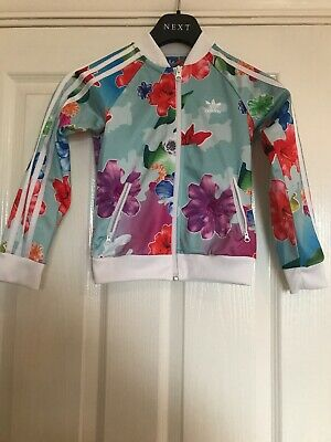 Girls Adidas Tracksuit Top Jacket Age 7-8 Floral