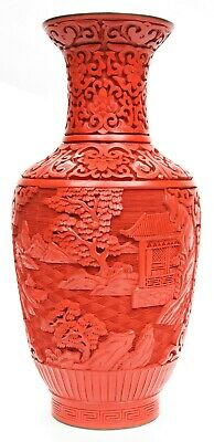 Vintage Chinese Republic Period Cinnabar Fine Hand Carved Lacquer Vase Enamel