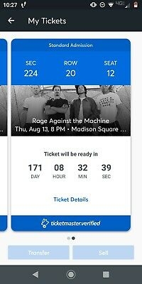 Rage Against The Machine 2 Tickets MSG Thursday 8/13