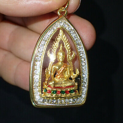 PHRA PIRAP GIANT BRONZE STATUE WITH GOLD PLATED AMULET PENDANT