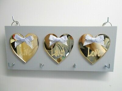 Live, Laugh, Love, Key Holder, Grey, with Gold mirror hearts