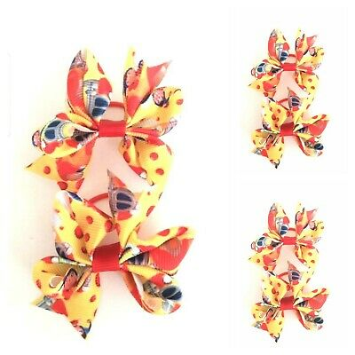 Handmade Girls Small Baby Hair Bow Bobbles Noddy Ribbon Sold In Pairs ( SALE )