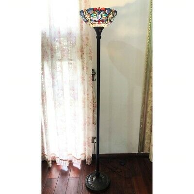 Tiffany Style Stained Glass Victorian Torchiere Floor Lamp Antique Bronze Base