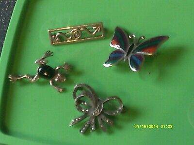 Lot Of 4 Vintage Sterling Silver Brooches,Frog,Butterfly,Bow,Arts And Crafts