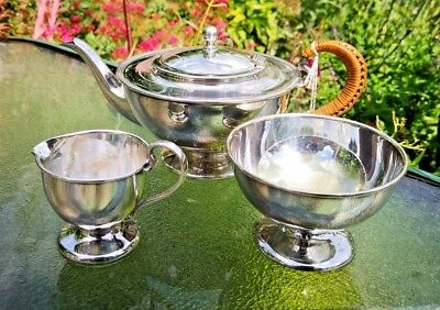 Stunning John Bishop Chatterley & Sons Arts And Craft Silver Plate 3 Pce Tea Set