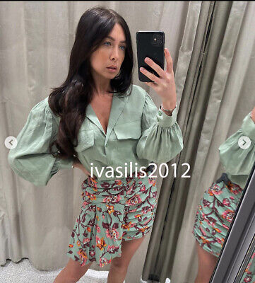 Zara New Woman Loose-Fitting Shirt With Pockets Top Green Xs-Xxl 3067/017