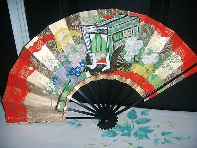 Vintage Large Decorative Home Decor Wall Hanging Paper/Cardboard+Wood Asian Fan