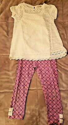 Girls Self Esteem Sz 6 Capri Set Ivory Crochet Top & Undershirt & Leggings W/Bow
