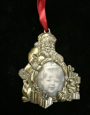 Gorham Silver Plate - SANTA'S BAG OF PRESENTS - Portrait Christmas Tree Ornament